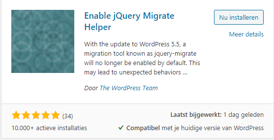 Enable jQuery Migrate Helper plugin installeren