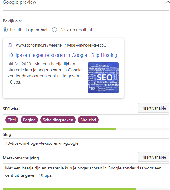 Meta description in Yoast SEO invoeren