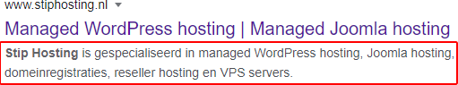 Meta description in Google resultaten